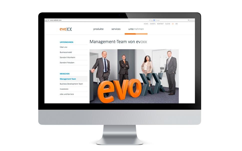 evoxx Website - Beispiele für gutes Branding